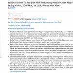 Стриминговый медиаплеер NVIDIA Shield TV Pro засветился на Amazon. Он на 25 % мощнее прошлой версии