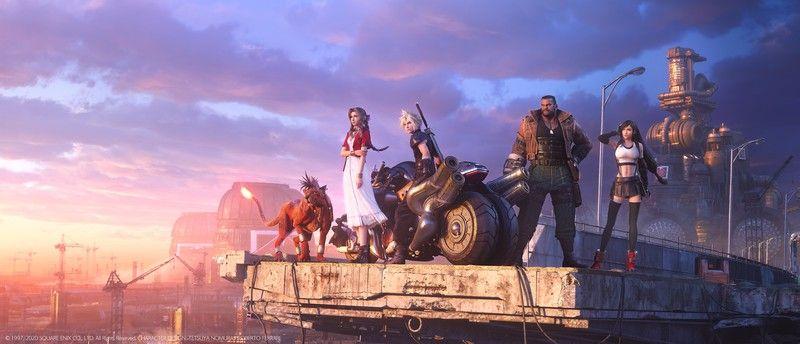 Ключевой арт с главными героями ремейка Final Fantasy VII