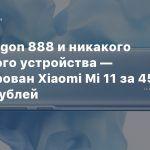Snapdragon 888 и никакого зарядного устройства — анонсирован Xiaomi Mi 11 за 45 тысяч рублей
