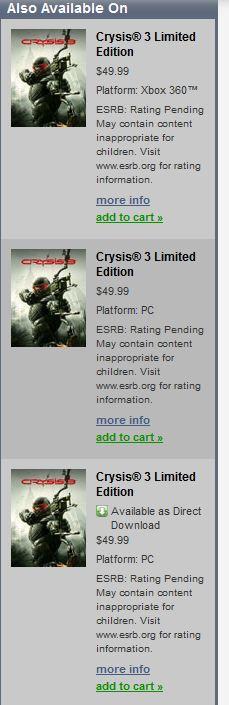Crytek анонсирует Crysis 3 - и утечка в Origin об этом говорит прямым текстом