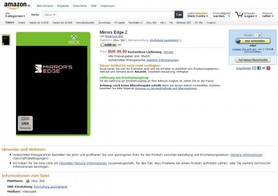 Mirror's Edge 2 объявилась на немецком Amazon (Обновлено)
